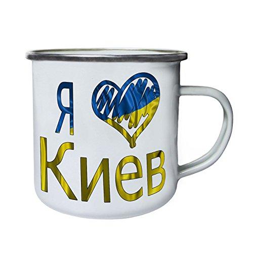 Ich liebe Kiew Ukraine Flagge Retro, Zinn, Emaille 10oz/280ml Becher Tasse u301e