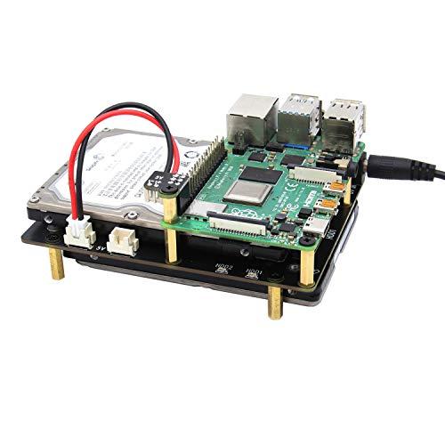 Geekworm Raspberry Pi 4 NAS Dual SATA, X829 Dual 2,5 Zoll SATA HDD/SSD Speichererweiterung, nur kompatibel mit Raspberry Pi 4 Modell B