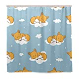 Lafle Wasserdichte Duschvorhänge Füchse Wolken Home Decor Badezimmer Vorhang mit 12 Haken, 182 x 182 cm (72 x 72 Zoll)