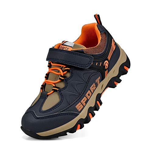 Biacolum Kids Hiking Sneakers Waterproof Tennis Walking Boys Shoes Dark Blue/Orange 4 M US Big Kid