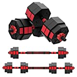 ER KANG Adjustable Dumbbell Barbell Set, 66 LBS Free Weights Set with 1'' Barbell Clamp, 3 in 1 Lifting Dumbbell with Connecting Rod for Home Gym, Whole Body Workout(1 Pair/Set)
