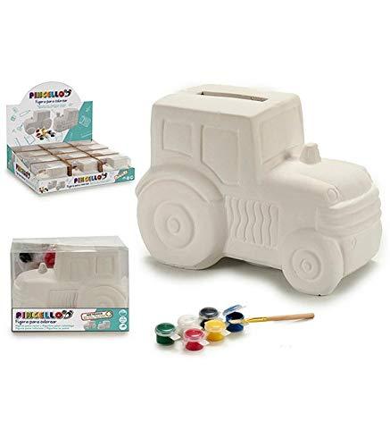Ar Hucha Tractor para Pintar, en Caja Acetato, con 6 Colores y un Pincel, 1 Unidad