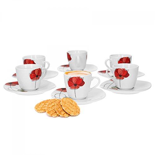 Van Well Monika 6er Set Espressotasse + Untertasse, Espresso-Set, Blumendekor, edles Marken-Porzellan