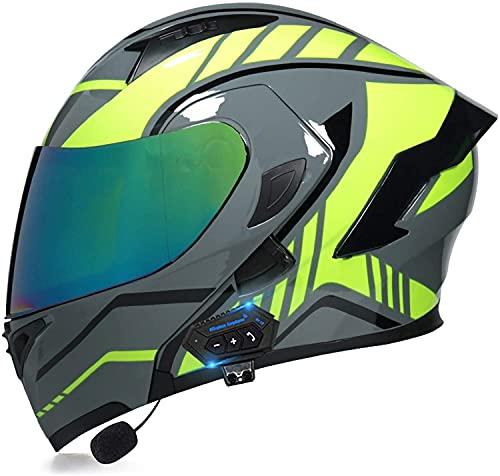 qaqy Motocicleta de Casco Completo para Adultos al Aire Libre Casco Integral Bluetooth Integrado Casco de Moto Modular con Doble Visera Cascos de Motocicleta (Color : E, Size : Large)