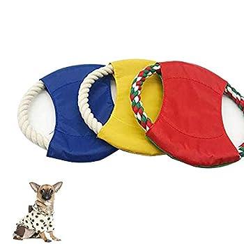 3 Pièces Frisbees Chiens Jouets, Pet Chien Disques Volants, Coloré Résistance Aux Piqûres Non Toxiques Corde de Chanvre Disque de Jouet Volant pour Chien pour l'Entraînement (Couleur Aléatoire)