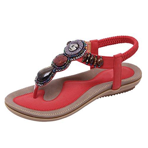 Sandalias de mujer bohemias Flip Flop Flat Dress Sandalias Beach Thong Gladiator