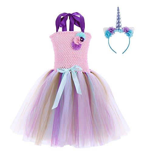 OBEEII Vestiti Unicorno Bambina Costumi Carnevale per Ragazze con Diadema Senza Maniche per Carnevale Cosplay Compleanno Festa Prom 6-7 Anni
