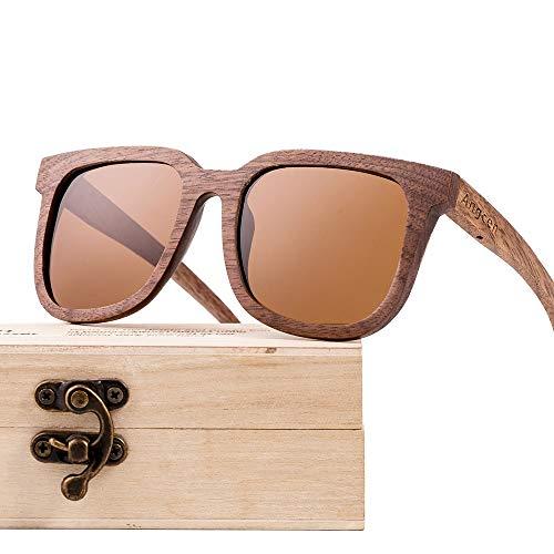 Kaper Go Gafas de sol con revestimiento de madera de nogal negro polarizada, estilo retro, unisex, lentes multicolores, protección UV400 (color: marrón)