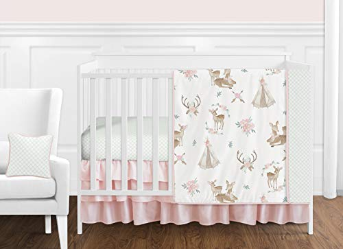 Sweet Jojo Designs Blush Pink, Mint Green and White Boho Watercolor Woodland Deer Floral Baby Girl Crib Bedding Set - 11 Pieces