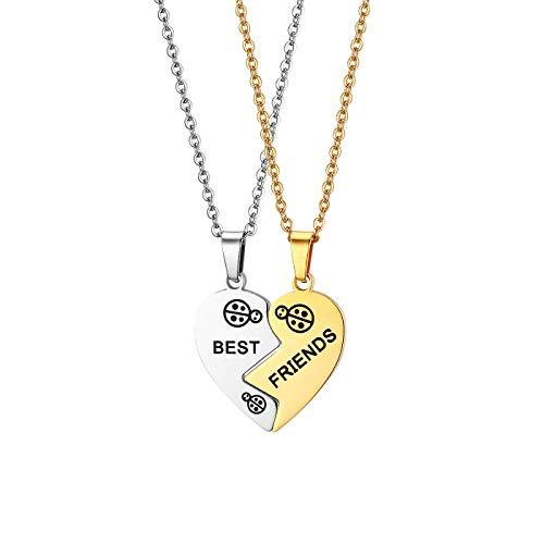 JewelryWe Schmuck 2PCS Pärchen Halskette Partnerketten Freundschaftsketten Partneranhänger BFF Paare Halskette-Set Edelstahl Best Friends Gravur Herz Puzzle Anhänger mit 45cm 55cm Kette Gold Silber