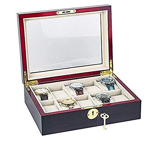 T.T-Q 10 Caja de Almacenamiento de Reloj de Madera Maciza Cajas para Relojes Caja de joyería para el hogar Caja de Reloj Soporte de Reloj Caja de colección Caja de Reloj 27.5 * 20.5 * 9cm