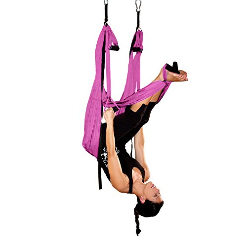 AGPTEK Deluxe Aerial Yoga Inversion Sling Hammock for Aerial Yoga, Flying Antigravity-Pink