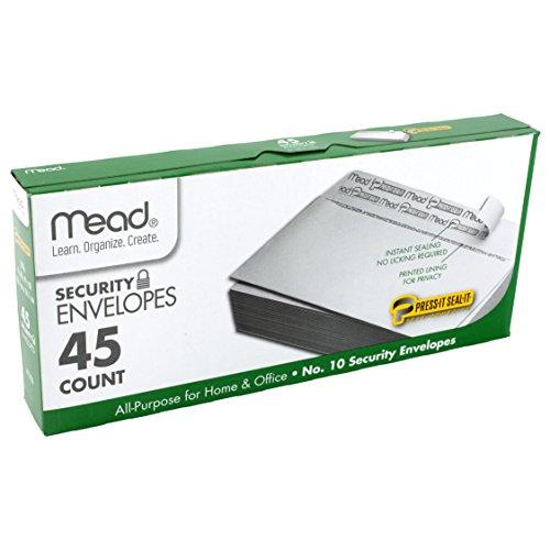 "Mead No.10 Envelopes, Security, Press-it Seal-it, 4-1/8"" X 9-1/2"", White, 45 Per Box (75026)"