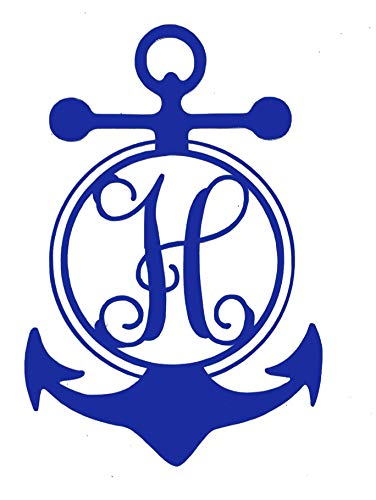 WickedGoodz Custom Anchor Monogram Vinyl Decal - Personalized Initial Sticker - for Tumblers, Laptops, Car Windows - Single Letter Nautical Anchor Design