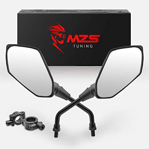 MZS ATV Mirrors Hawk-Eye Rear View Convex Universal 7/8 Handlebar Mount Compatible with Motorcycle Dirt Bike Quad Street Bike Adventure Snowmobile Jet ski Scooter Coolster Moped GY6 ATV's