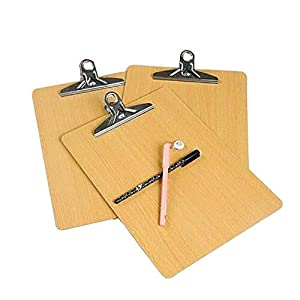 GK 10 X A4 Portapapeles de Madera Orificio para Colgar Menú de Escritura Documento Oficina Tablero de aglomerado Tablero rígido Documento Fuerte