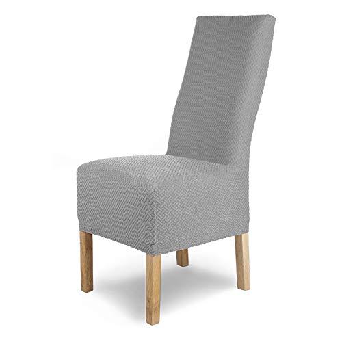 SCHEFFLER-Home Stuhlhussen Stretch Luna-Lang / Stuhlüberzug 4er Set Grau Lang / elastische Flanell Stuhlabdeckungen / Stuhlhussen Schwingstühle / Spann-Bezug Stuhl Überwurf als eleganter Schonbezug