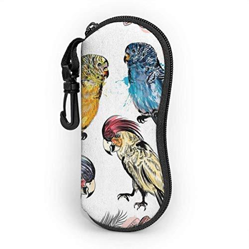 Hermosa funda de gafas Baground con pájaros tropicales que protege y almacena gafas de sol, gafas de lectura y la mayoría de desgaste de los ojos, adecuado para hombres, mujeres y niños