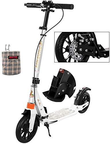 Patinetes Para Niños Kick adultos scooter con ruedas grandes y el disco de freno de mano con un solo botón plegable de doble suspensión del viajero scooter con la cesta del almacenaje - Apoyos 100kg L