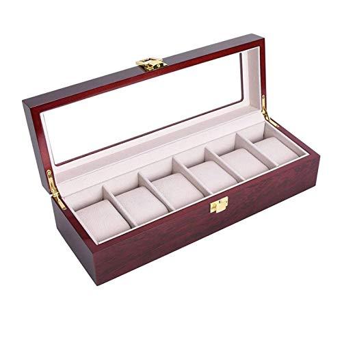 Caja de Almacenamiento de Reloj de Madera para Hombre de Lujo Pintado de Caja de Almacenamiento de Madera de Madera 2/3/5/10/12 Grid (Talla : Six grids)