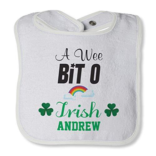 Personalized Custom A Wee Bit O Irish Four Leaf Shamrock Clover Irish Ireland St Patricks Patty Celtic Cotton Boys-Girls Baby Terry Bib Contrast Trim - White, One Size