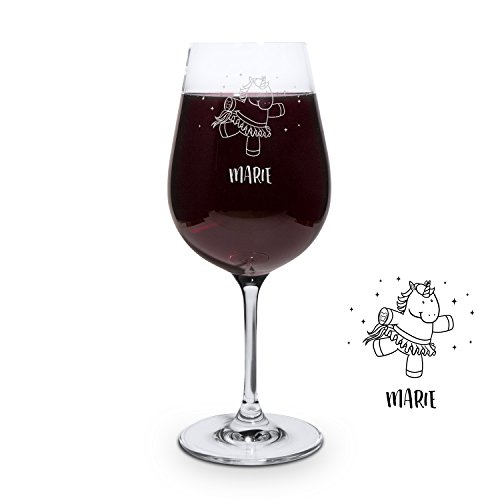 printplanet® Graviertes Rotweinglas - Leonardo® Weinglas mit Gravur (mit Name oder Text personalisiert) - Design Einhorn