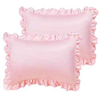 PiccoCasa Satin Pillow Cases for Hair and Skin 2-Pack-Ruffled Pillow Shams Oxford Pillowcases Covers with Envelope Closure Pink Standard  20x26inch + 3inch Hem