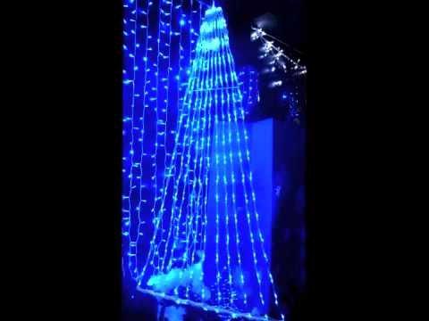 prilux–Screenlight Wasserfall 4x 1.5mts LED blau Kabel transparent