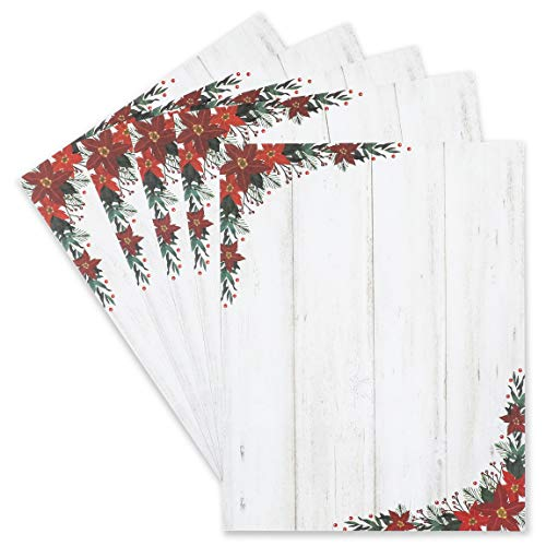 Poinsettia Christmas Stationery Printer Paper (Letter Size, 100 Sheets)