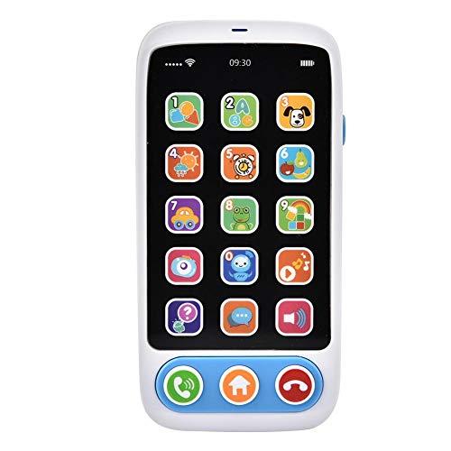 Zerodis Simulazione Cellulare Giocattolo Bambini Interactive Smart Phone Modello Imparare l inglese Educazione Precoce Giocattolo con Musica e Luce Natale Pasqua Regalo per 0-6Anni Bambino (Blu)