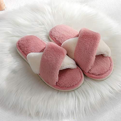 Zapatillas de casa zapatillas de algodón zapatos calientes zapatillas mujeres de invierno casa hogar otoño par de zapatillas de algodón estudiante CáLido Zapatillas ( Color : D , Size : 40-41 )