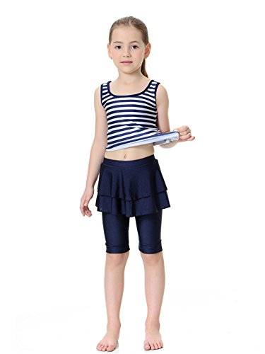 CaptainSwim Kid's Sleeveless Swimsuit Muslim Islamic Two Piece Modest Swimwear (Asia M, Navy Blue)