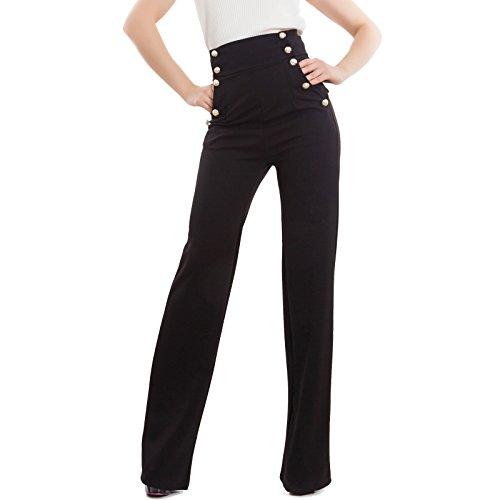 Toocool - Pantaloni Donna Campana Vita Alta Zampa Elefante Elasticizzati Hot Nuovi AS-531 [S,Nero]