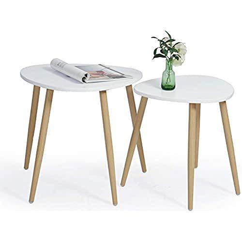 MEUBLES COSY Lot de 2 Tables Basses, Tables Gigognes, Vintage Table d'appoint, Table D'extrémité avec Pied en Métal avec Finition Chêne BULLS & KREUZ Blanc 50 x 42 x 48 cm