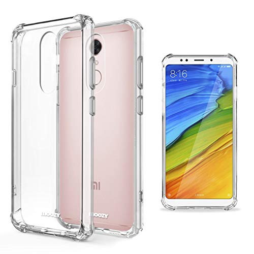 Moozy Funda Silicona Antigolpes para Xiaomi Redmi 5 - Transparente Crystal Clear TPU Case Cover Flexible