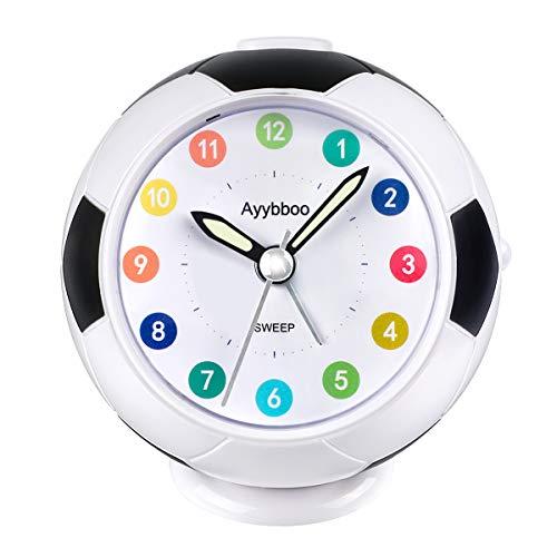PROKING Väckarklocka för barn nattduksbord väckarklocka tickar ej resa väckarklocka batteridriven med nattlampa snooze sovrum kontor väckarklocka (svart & vit)