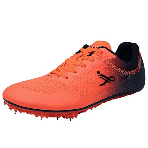 XFQ Pista Y Campo Zapatos, Sprint Entrenamiento Atlético Unisex Adultos Zapatos para Niños Junior Spikes Salto De Longitud Transpirable Zapatillas De Deporte,Naranja,41EU