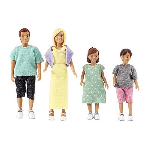 Lundby 60-807000 - Biegepuppen für Puppenhaus - Familie - 4-teilig - Puppenhauszubehör - Kunststoff-Puppen m. ausziehbarer Kleidung - Eltern - Mama, Papa, Kinder - Zubehör - ab 3 - Minipuppen 1:18