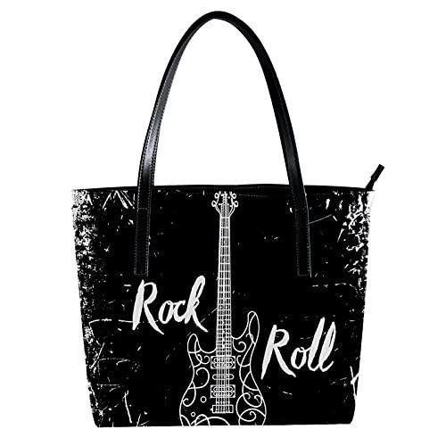 Guitarra eléctrica y letras Rock and Roll sobre fondo grunge bolso bandolera...