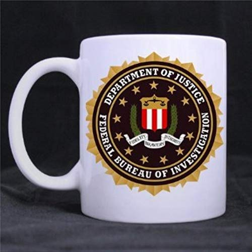 Taza de café divertida con fondo blanco con impresión del FBI, 325 ml, taza de café de cerámica, el mejor regalo o recuerdo para hombres y mujeres, festivales de cumpleaños, Navidad