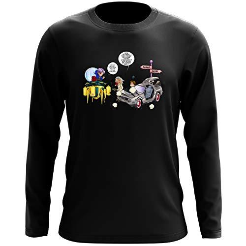 Okiwoki T-Shirt à Manches Longues Noir DBZ et Retour vers Le Futur parodique Trunks Vs Doc et Marty Macfly : Collision dans Les Couloirs du Temps ! (Parodie DBZ et Retour vers Le Futur)