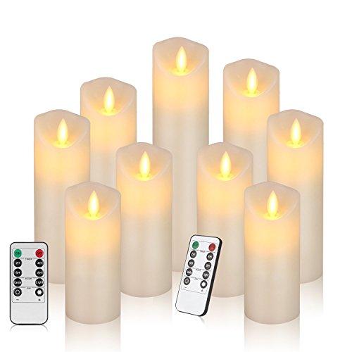 Velas de té, Velas LED, Velas parpadeantes sin Llama, Velas Artificiales realistas a Pilas con luz Amarilla cálida, Polipropileno, (1 * 9 flicker)