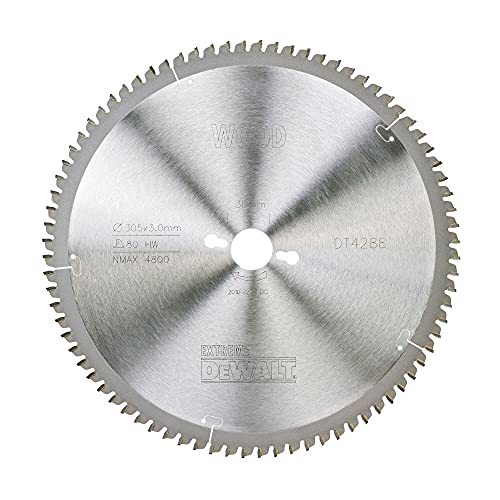DeWalt DT4288-QZ (Kreissägeblatt 305/30 mm 80 TFZ Extreme Stationärkreissägeblatt Extra feines Finish Furniern, Aluminium und Kunststoffen)