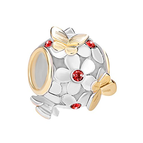 Uniqueen Jewellery 925 Sterling Silver Butterfly Flower Charms Beads with Crystal Bead Fit Bracelet (July Birthstone)