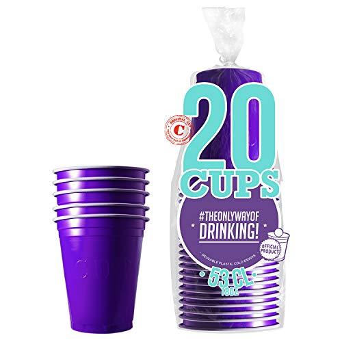 Pack de x20 Original Purple Cups Officiels | Gobelets Américains 53cl Violets | Beer Pong | Qualité Premium | Gobelets en Plastique Réutilisables | Lavables Main ou Lave-Vaisselle | OriginalCup®