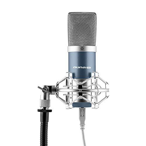 auna MIC-900BL - USB Kondensator-Mikrofon, Nierencharakteristik, Metallgehäuse, Plug & Play, inklusive Mikrofonspinne mit 3/8