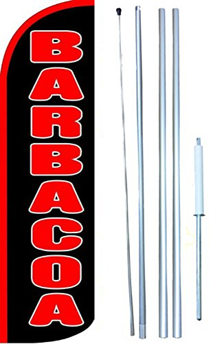 Barbacoa Windless Swooper Tall Feather Banner Flag Kit (11.5' Tall Flag, 15' Tall Hybrid Flagpole, Ground Mount Stake) by The Flag Depot