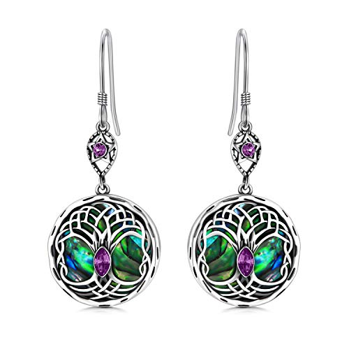 Celtic Tree of Life Earrings Sterling Silver Family Tree Dangle Drop Earrings with Crystals from Swarovski, Birthday Jewellery Gifts for Women (Simulated Amethyst)