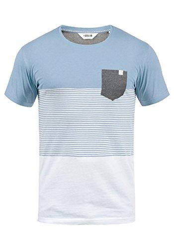!Solid Malte Herren T-Shirt Kurzarm Shirt Mit Streifen Und Rundhals, Größe:L, Farbe:Sky Blue (1025)