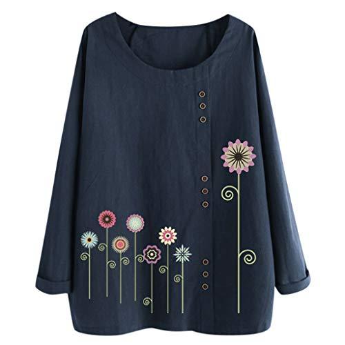 TUDUZ Blusas Mujer Manga Larga Camisas Botón Camisetas Impr